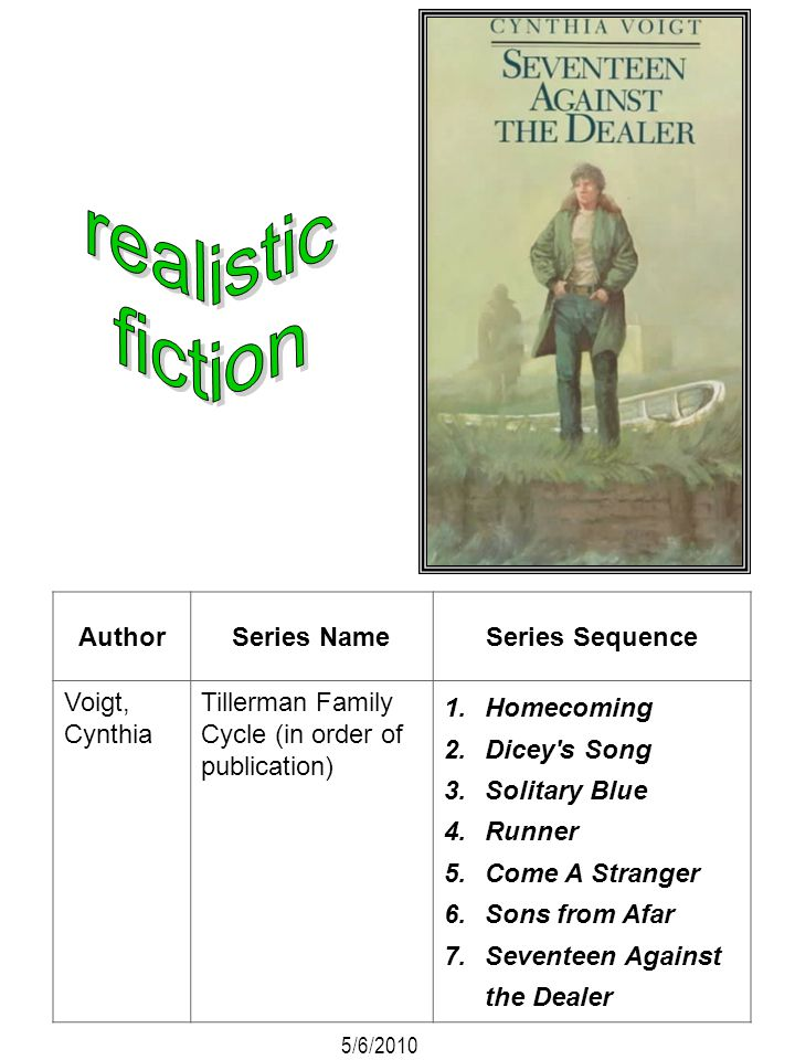 AuthorSeries NameSeries Sequence Voigt, Cynthia Tillerman Family Cycle (in order of publication) 1.Homecoming 2.Dicey's Song 3.Solitary Blue 4.Runner
