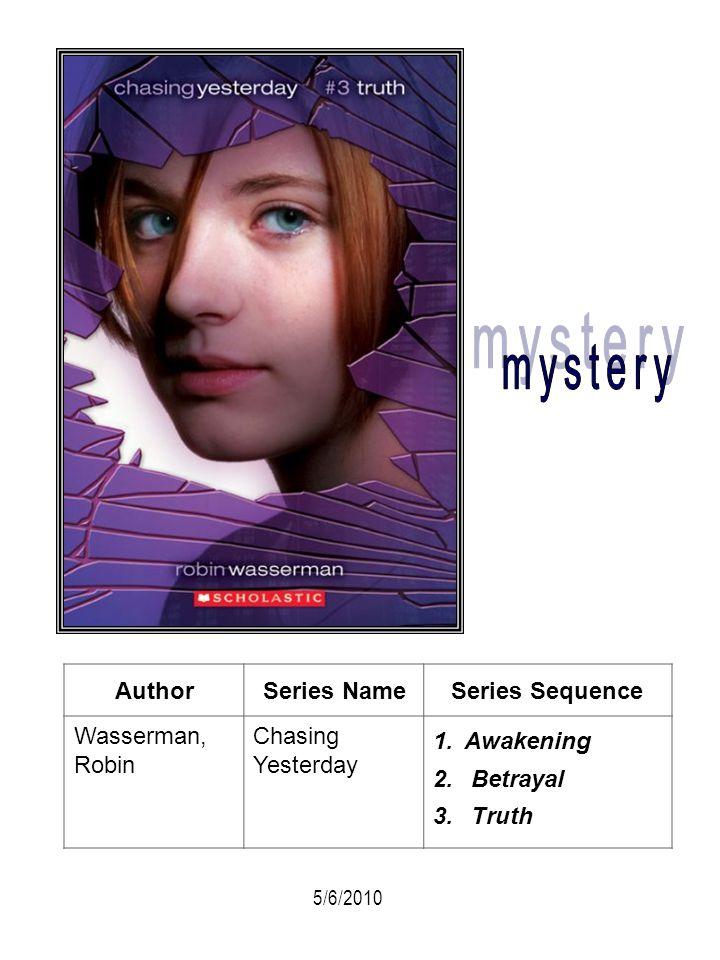 AuthorSeries NameSeries Sequence Wasserman, Robin Chasing Yesterday 1.Awakening 2. Betrayal 3. Truth 5/6/2010