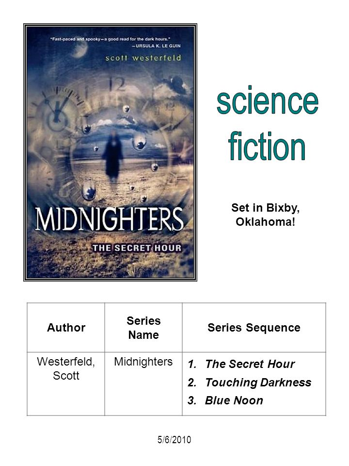 Author Series Name Series Sequence Westerfeld, Scott Midnighters 1.The Secret Hour 2.Touching Darkness 3.Blue Noon Set in Bixby, Oklahoma! 5/6/2010