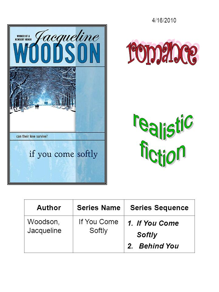 AuthorSeries NameSeries Sequence Woodson, Jacqueline If You Come Softly 1.If You Come Softly 2. Behind You 4/16/2010