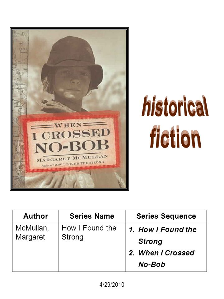AuthorSeries NameSeries Sequence McMullan, Margaret How I Found the Strong 1.How I Found the Strong 2.When I Crossed No-Bob 4/29/2010
