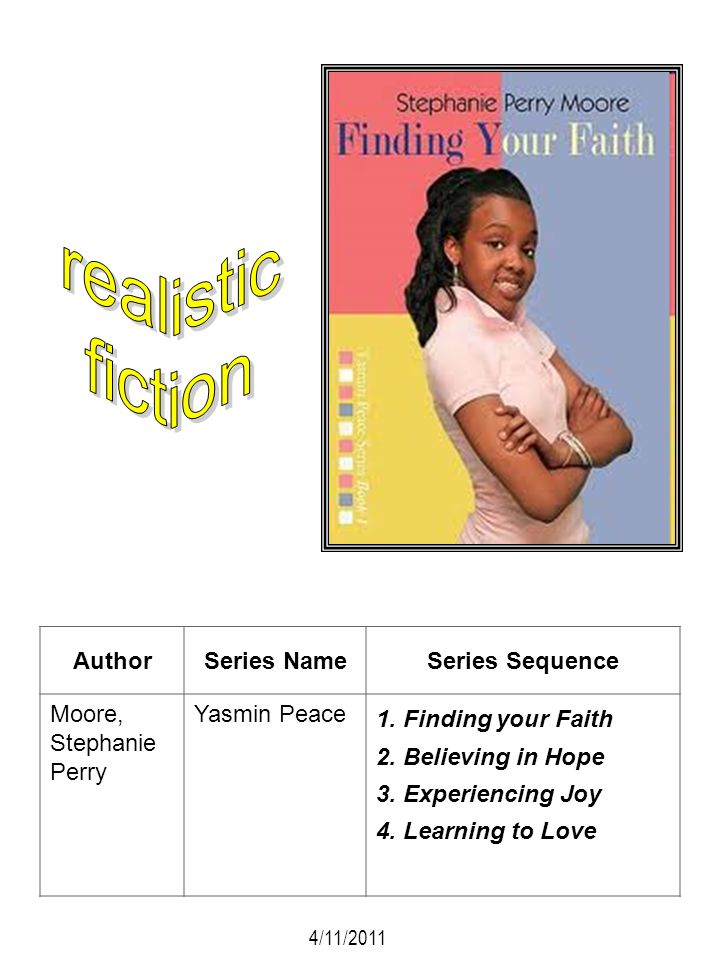 AuthorSeries NameSeries Sequence Moore, Stephanie Perry Yasmin Peace 1. Finding your Faith 2. Believing in Hope 3. Experiencing Joy 4. Learning to Lov
