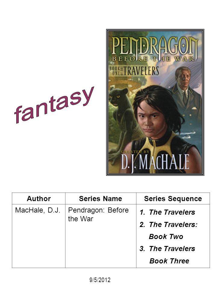 AuthorSeries NameSeries Sequence MacHale, D.J.Pendragon: Before the War 1.The Travelers 2.The Travelers: Book Two 3.The Travelers Book Three 9/5/2012