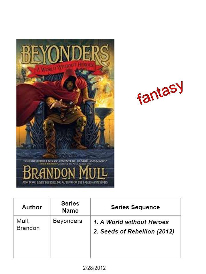 Author Series Name Series Sequence Mull, Brandon Beyonders 1. A World without Heroes 2. Seeds of Rebellion (2012) 2/28/2012