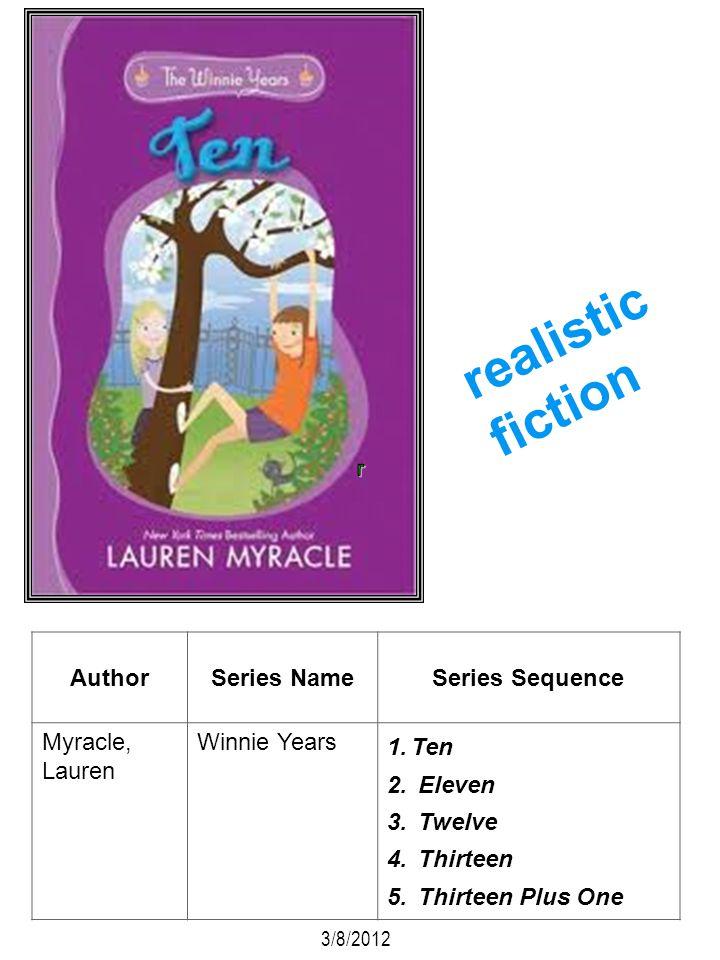 AuthorSeries NameSeries Sequence Myracle, Lauren Winnie Years 1.Ten 2. Eleven 3. Twelve 4. Thirteen 5. Thirteen Plus One 3/8/2012 realistic fiction