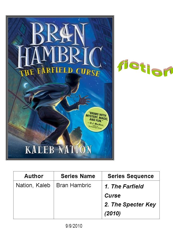 AuthorSeries NameSeries Sequence Nation, Kaleb Bran Hambric 1. The Farfield Curse 2. The Specter Key (2010) 9/9/2010