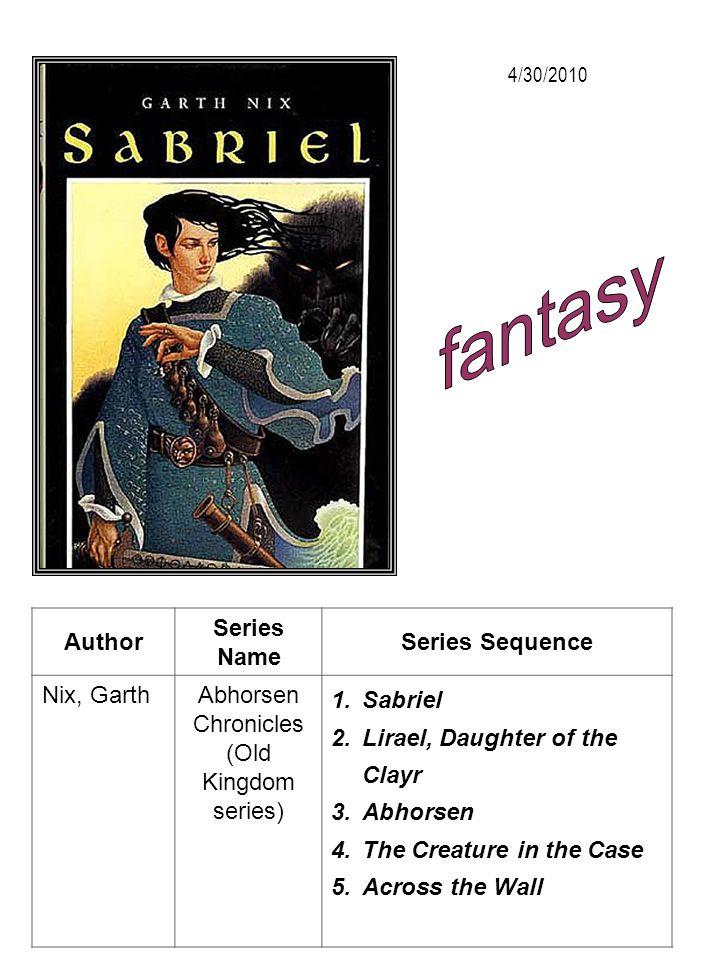 Author Series Name Series Sequence Nix, GarthAbhorsen Chronicles (Old Kingdom series) 1.Sabriel 2.Lirael, Daughter of the Clayr 3.Abhorsen 4.The Creat