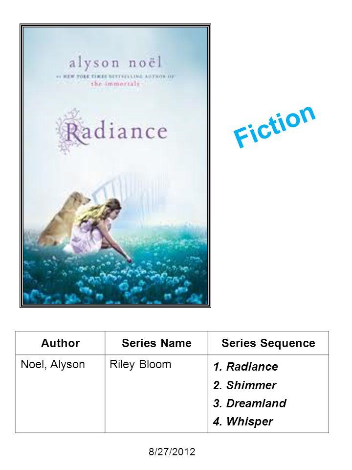 AuthorSeries NameSeries Sequence Noel, AlysonRiley Bloom 1. Radiance 2. Shimmer 3. Dreamland 4. Whisper 8/27/2012 Fiction