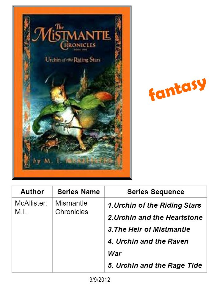 AuthorSeries NameSeries Sequence McAllister, M.I.. Mismantle Chronicles 1.Urchin of the Riding Stars 2.Urchin and the Heartstone 3.The Heir of Mistman