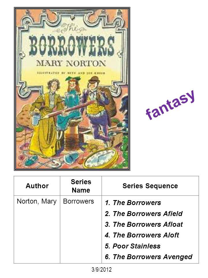 Author Series Name Series Sequence Norton, MaryBorrowers 1. The Borrowers 2. The Borrowers Afield 3. The Borrowers Afloat 4. The Borrowers Aloft 5. Po