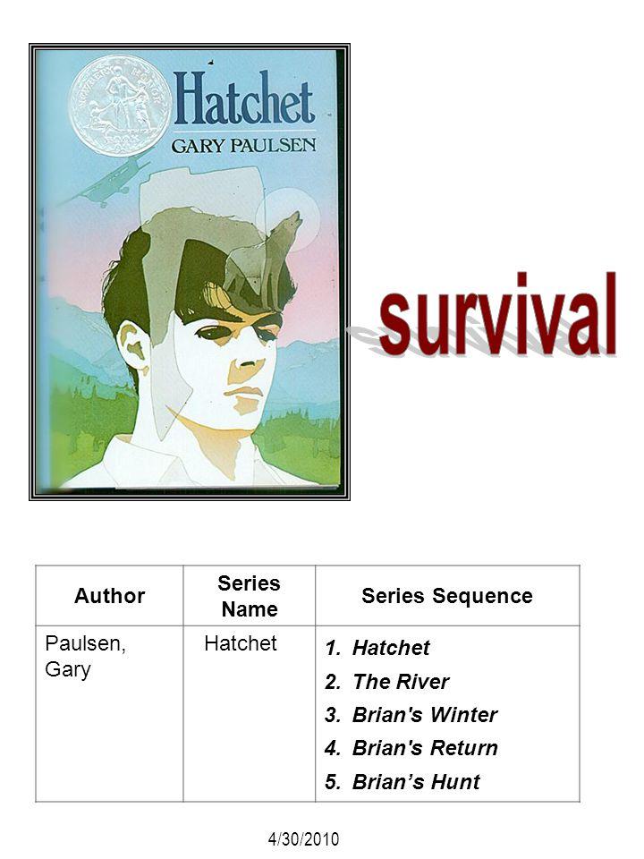 Author Series Name Series Sequence Paulsen, Gary Hatchet 1.Hatchet 2.The River 3.Brian's Winter 4.Brian's Return 5.Brians Hunt 4/30/2010