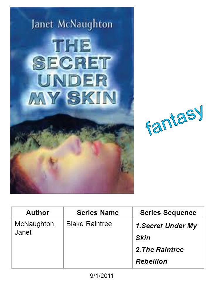 AuthorSeries NameSeries Sequence McNaughton, Janet Blake Raintree 1.Secret Under My Skin 2.The Raintree Rebellion 9/1/2011
