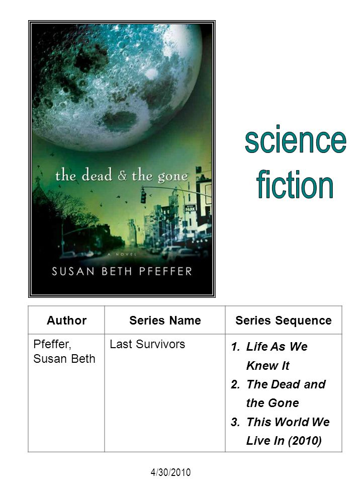 AuthorSeries NameSeries Sequence Pfeffer, Susan Beth Last Survivors 1.Life As We Knew It 2.The Dead and the Gone 3.This World We Live In (2010) 4/30/2