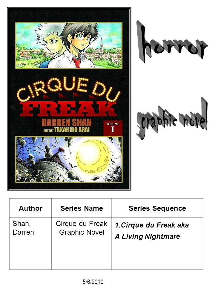 AuthorSeries NameSeries Sequence Shan, Darren Cirque du Freak Graphic Novel 1.Cirque du Freak aka A Living Nightmare