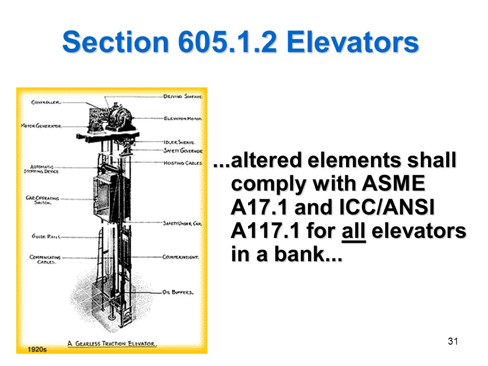 31 Section 605.1.2 Elevators...altered elements shall comply with ASME A17.1 and ICC/ANSI A117.1 for all elevators in a bank...