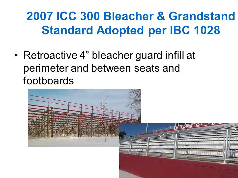 7 2007 ICC 300 Bleacher & Grandstand Standard Adopted per IBC 1028 Retroactive 4 bleacher guard infill at perimeter and between seats and footboards