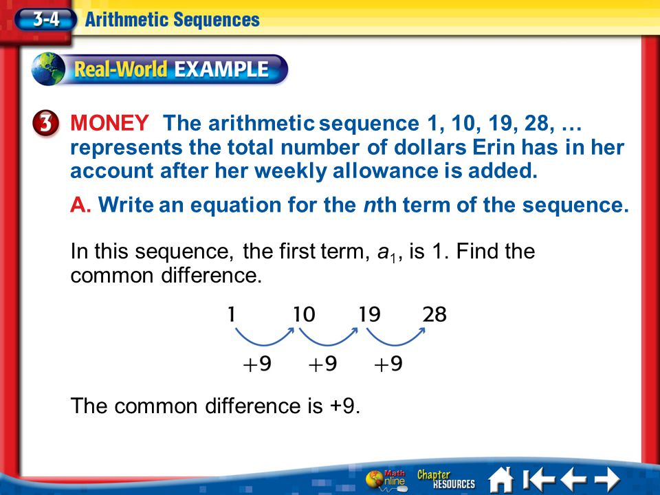 The common difference is +9. Lesson 3-4 Example 3a MONEY The arithmetic sequence 1, 10, 19, 28, … represents the total number of dollars Erin has in h