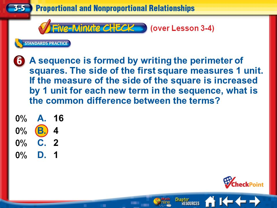 5 Min 5-6 (over Lesson 3-4) A.16 B.4 C.2 D.1 A sequence is formed by writing the perimeter of squares.