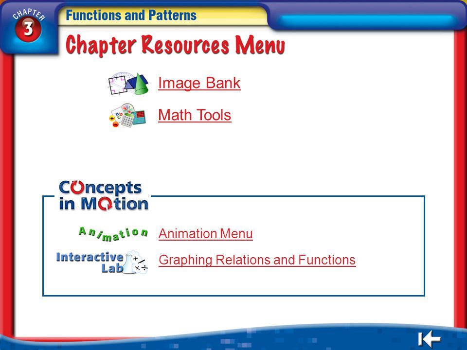 Resources Menu Image Bank Math Tools Animation Menu Graphing Relations and Functions