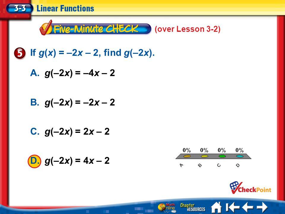 5 Min 3-5 A. A B. B C. C D. D If g(x) = –2x – 2, find g(–2x). A.g(–2x) = –4x – 2 B.g(–2x) = –2x – 2 C.g(–2x) = 2x – 2 D.g(–2x) = 4x – 2