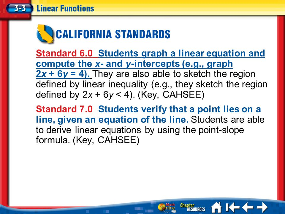 Lesson 3-3 CA Standard 6.0 Students graph a linear equation and compute the x- and y-intercepts (e.g., graph 2x + 6y = 4).