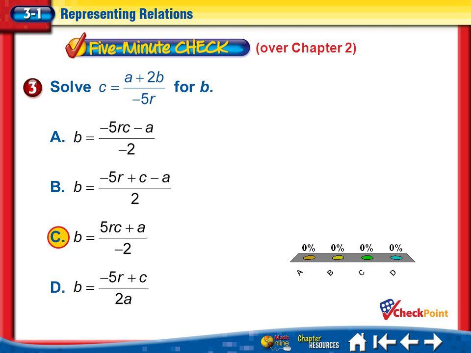 (over Chapter 2) 5 Min 1-3 A. A B. B C. C D. D Solve for b.