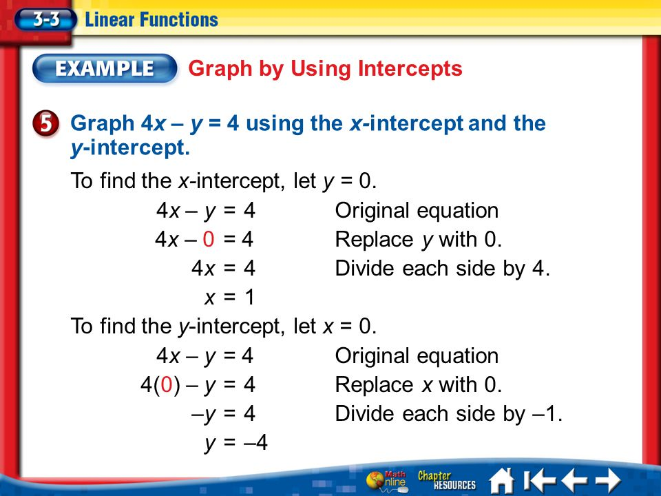 Lesson 3-3 Example 5 Graph 4x – y = 4 using the x-intercept and the y-intercept.