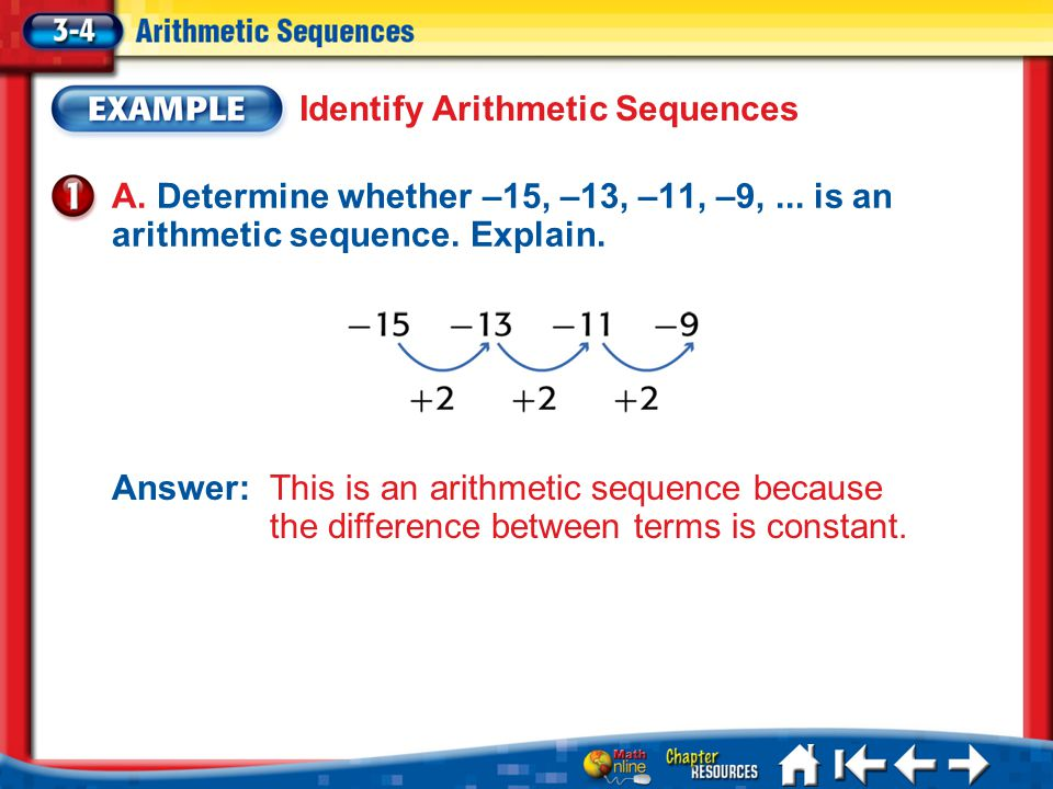 Lesson 3-4 Example 1a A. Determine whether –15, –13, –11, –9,... is an arithmetic sequence. Explain. Identify Arithmetic Sequences Answer: This is an