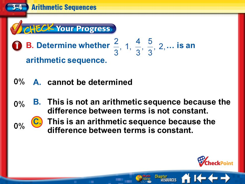 CYP 3-4-1 B.Determine whether … is an arithmetic sequence.