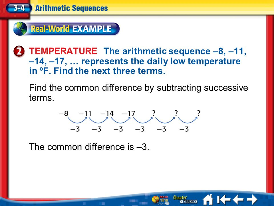 Lesson 3-4 Example 2 TEMPERATURE The arithmetic sequence –8, –11, –14, –17, … represents the daily low temperature in ºF.