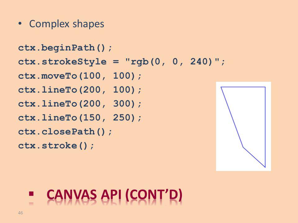 Complex shapes ctx.beginPath(); ctx.strokeStyle =