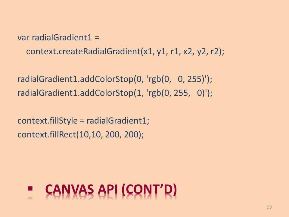 var radialGradient1 = context.createRadialGradient(x1, y1, r1, x2, y2, r2); radialGradient1.addColorStop(0, 'rgb(0, 0, 255)'); radialGradient1.addColo