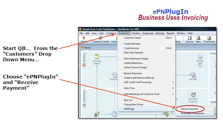 ePN PlugIn Start QB… From the Customers Drop Down Menu… Choose ePNPlugIn and Receive Payment Business Uses Invoicing