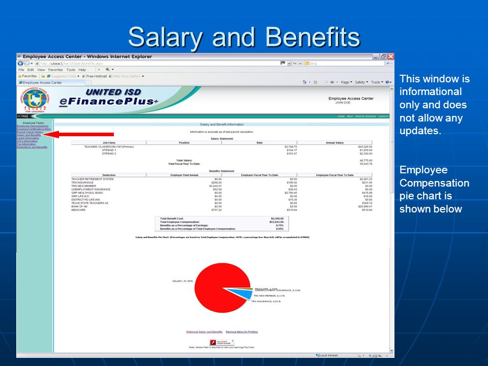 Salary and Benefits This window is informational only and does not allow any updates.