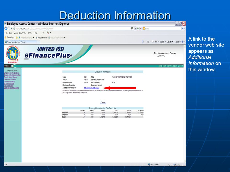 Deduction Information A link to the vendor web site appears as Additional Information on this window.