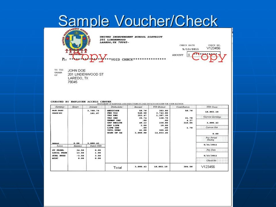 Sample Voucher/Check