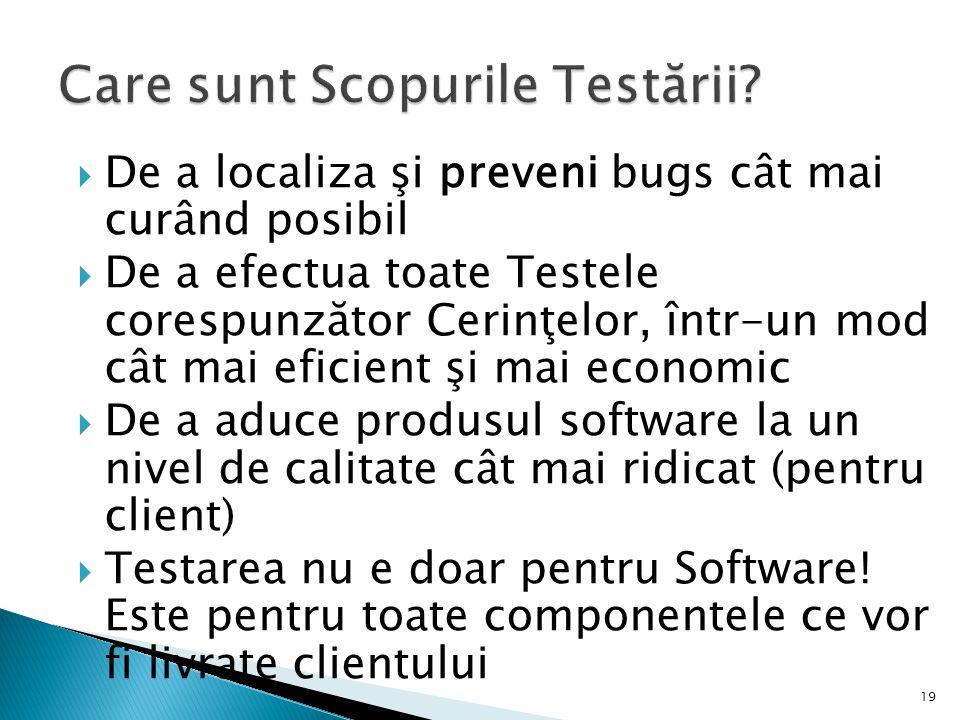 19 De a localiza şi preveni bugs cât mai curând posibil De a efectua toate Testele corespunzător Cerinţelor, într-un mod cât mai eficient şi mai economic De a aduce produsul software la un nivel de calitate cât mai ridicat (pentru client) Testarea nu e doar pentru Software.