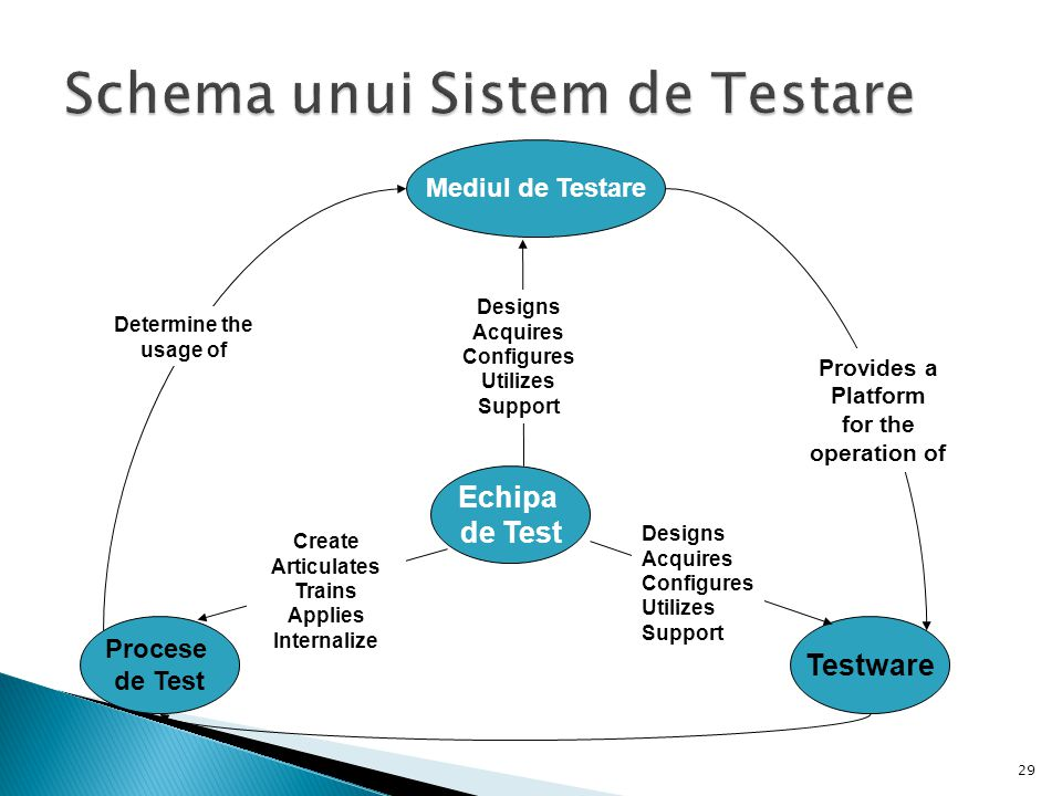 29 Echipa de Test Mediul de Testare Procese de Test Testware Designs Acquires Configures Utilizes Support Provides a Platform for the operation of Det