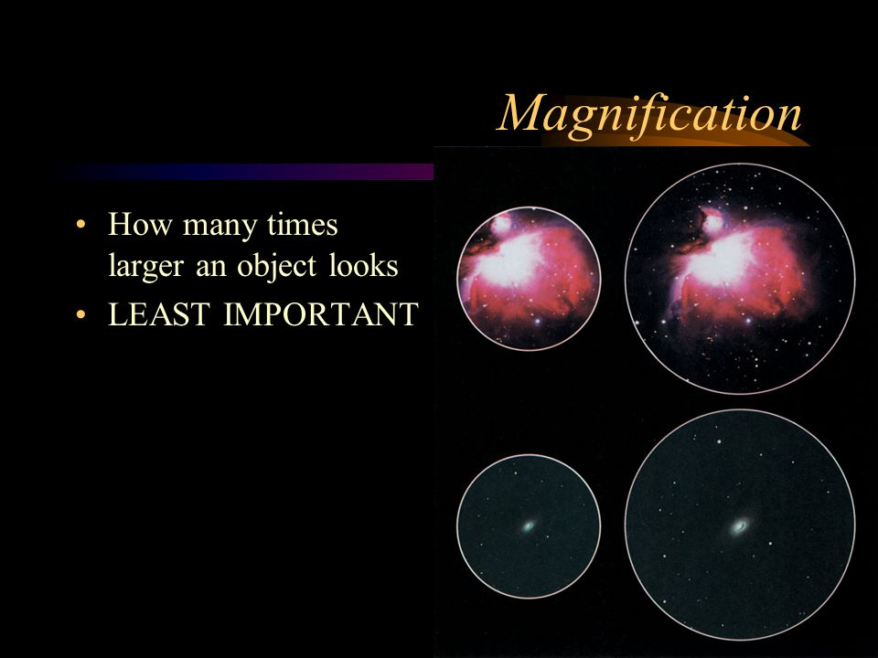 Magnification How many times larger an object looks LEAST IMPORTANT