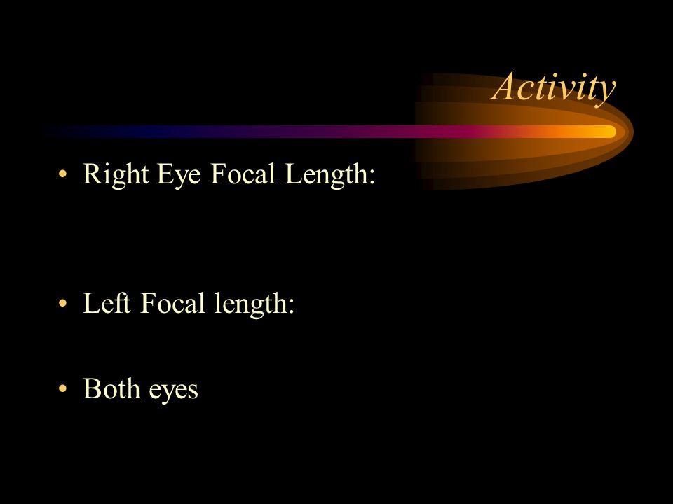 Activity Right Eye Focal Length: Left Focal length: Both eyes