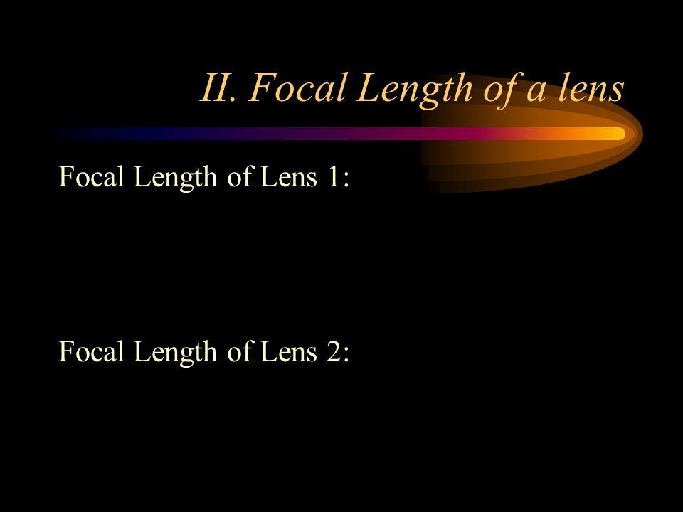 II. Focal Length of a lens Focal Length of Lens 1: Focal Length of Lens 2: