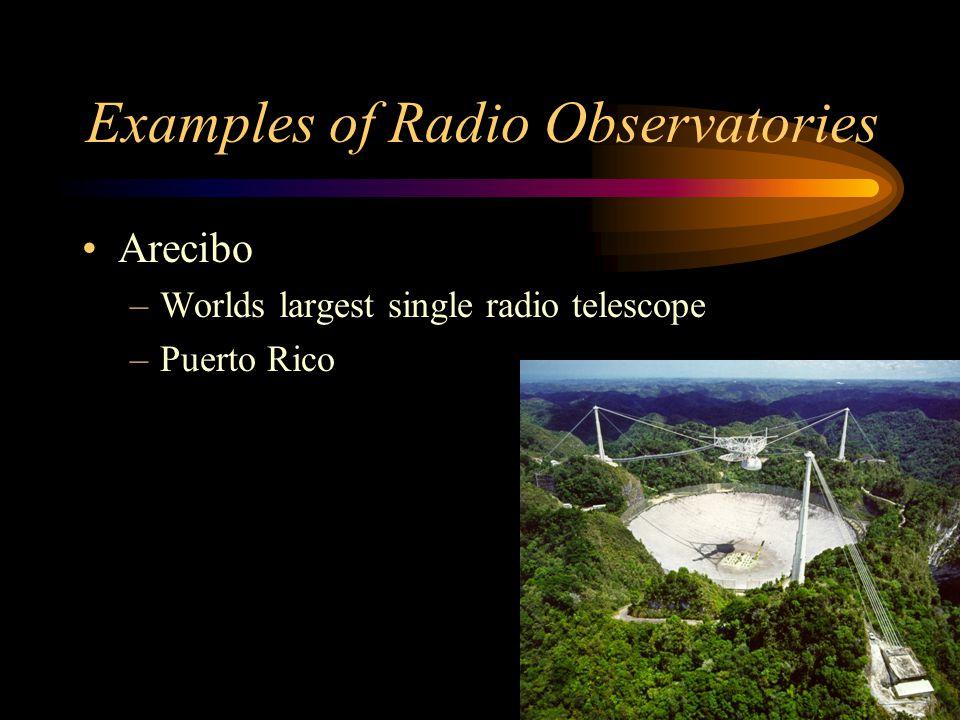 Examples of Radio Observatories Arecibo –Worlds largest single radio telescope –Puerto Rico