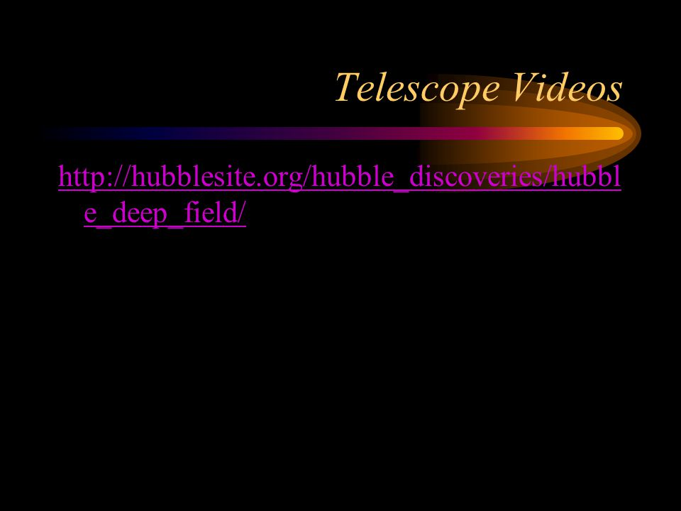 Telescope Videos http://hubblesite.org/hubble_discoveries/hubbl e_deep_field/