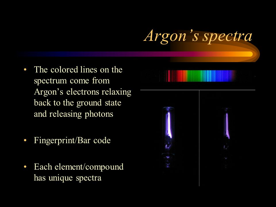Argons spectra The colored lines on the spectrum come from Argons electrons relaxing back to the ground state and releasing photons Fingerprint/Bar co