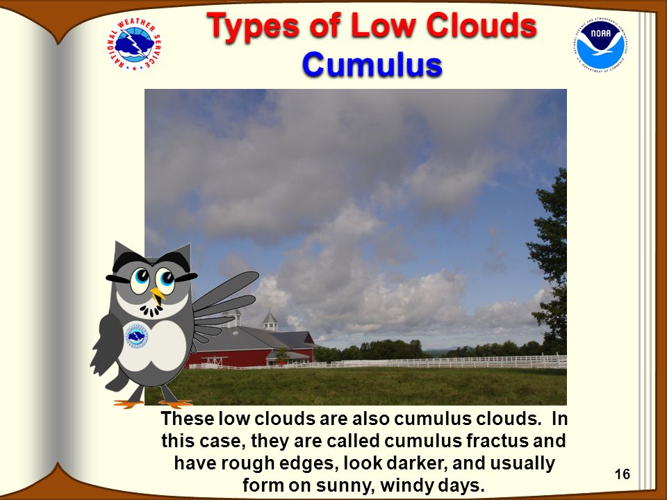 These low clouds are also cumulus clouds. In this case, they are called cumulus fractus and have rough edges, look darker, and usually form on sunny,