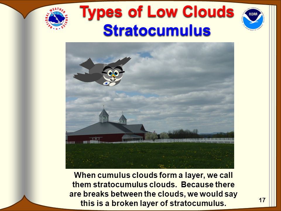 Types of Low Clouds Stratocumulus Types of Low Clouds Stratocumulus When cumulus clouds form a layer, we call them stratocumulus clouds. Because there