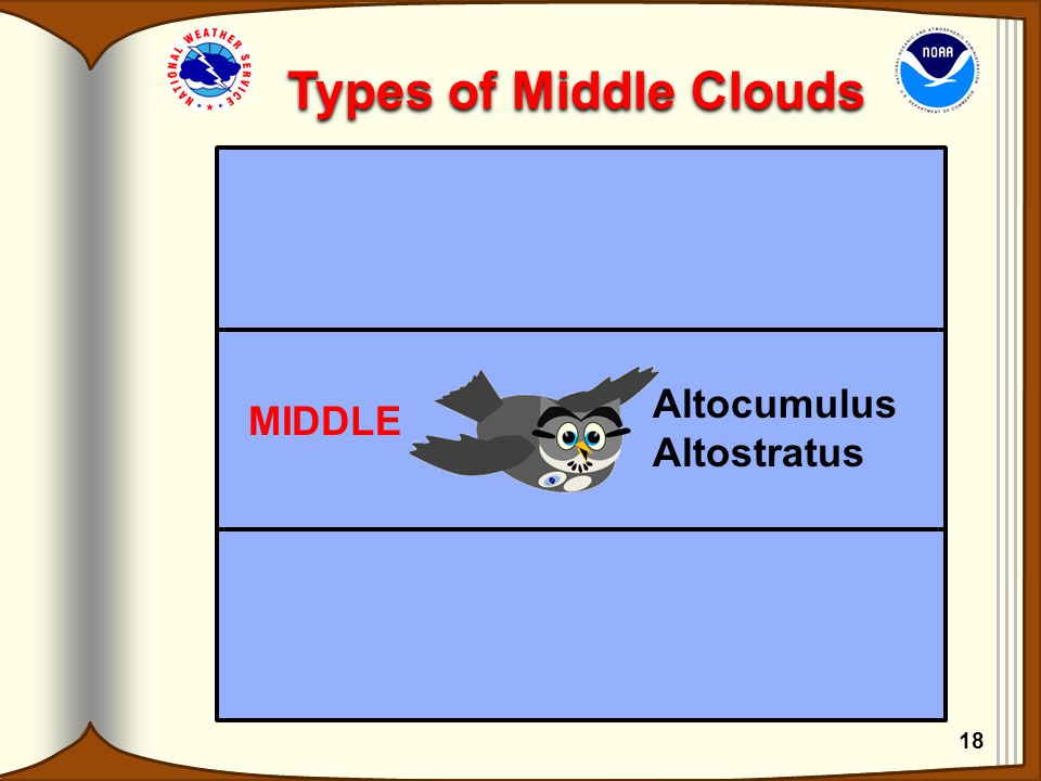 Types of Middle Clouds Altocumulus Altostratus MIDDLE 18