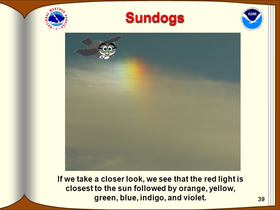 Sundogs If we take a closer look, we see that the red light is closest to the sun followed by orange, yellow, green, blue, indigo, and violet. 39