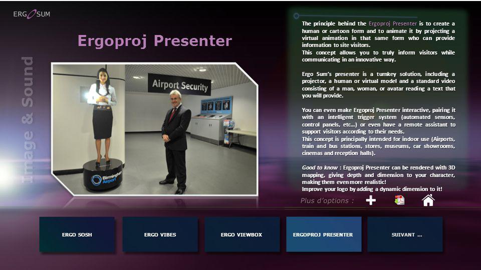 ERGO SOSHERGO VIBESERGOPROJ PRESENTERSUIVANT …ERGO VIEWBOX Image & Sound Ergoproj Presenter The principle behind the Ergoproj Presenter is to create a