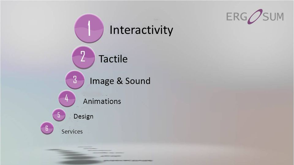 ERGO SOSHERGO VIBESERGOPROJ PRESENTERSUIVANT …ERGO VIEWBOX Image & Sound Ergo SoSh Ergo Sum offers complete solutions allowing you to precisely control the dissemination of sound in a public place.